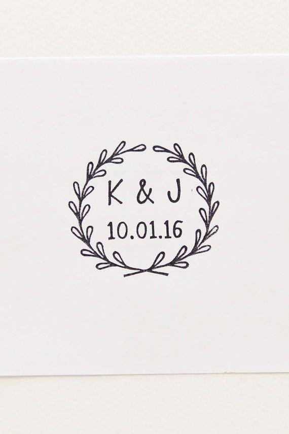 Wedding rubber stamp, initials stamp, custom rubber stamp