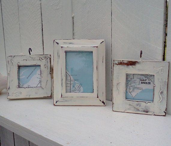 Shabby Beach Cottage Frames Chippy upcycled vintage Shabby Chic ...