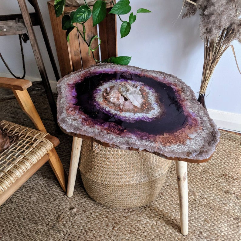 Crystal Geode Resin Art Coffee Table Real Rose Quartz And Clear