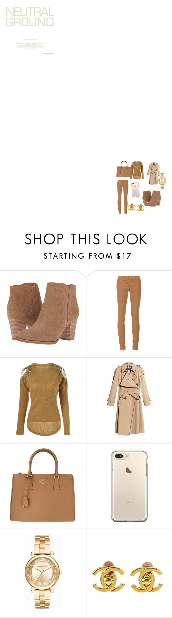 """""""Netutal Contest"""" by sakhile-dintoe ❤ liked on Polyvore featuring Franco Sarto, AG Adriano Goldschmied, Burberry, Prada, Michael Kors and Chanel"""