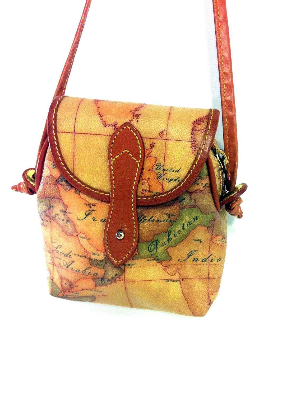 Alviero Martini Leather Map Bag Authentic Prima Classe Mini Crossbody Pouch Via Etsy