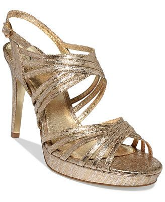 5a2349f8a34 Adrianna Papell Aiden Platform Evening Sandals.  Available in 2 colors   Platino Gold   Silver .
