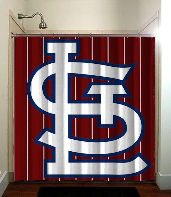 St Louis Cardinals Baseball Shower Curtain Bathroom Home Decor In