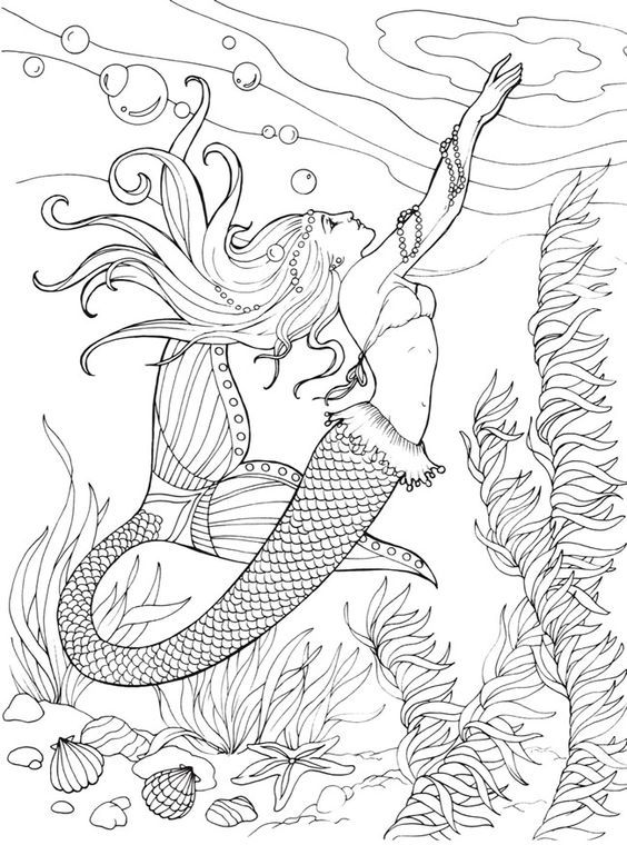 Mermaid Coloringpages Coloringpagesforadults Linearts Clik This