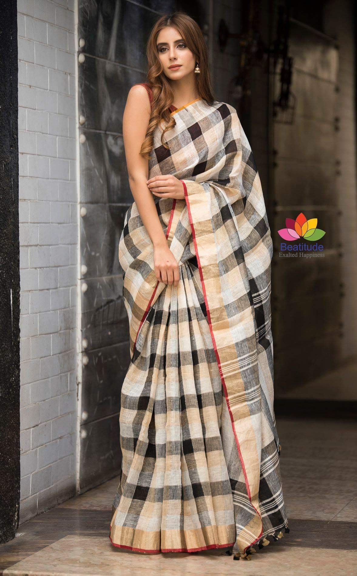 4cbb066b35 Black and White Checkered Handloom Linen Saree | Party wear in 2019 ...