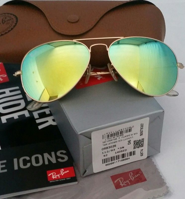 Authentic Ray-Ban Aviator Yellow Lens / Gold Frame Sunglasses | Ray ...