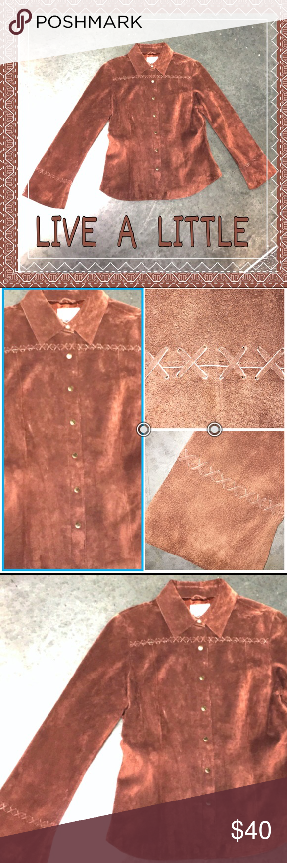 LIVE A LITTLE SUEDE BUTTON DOWN FLARE SLEEVE Brown suede with a semi flare to the arm collared snap button size large LIVE A LITTLE Tops Button Down Shirts
