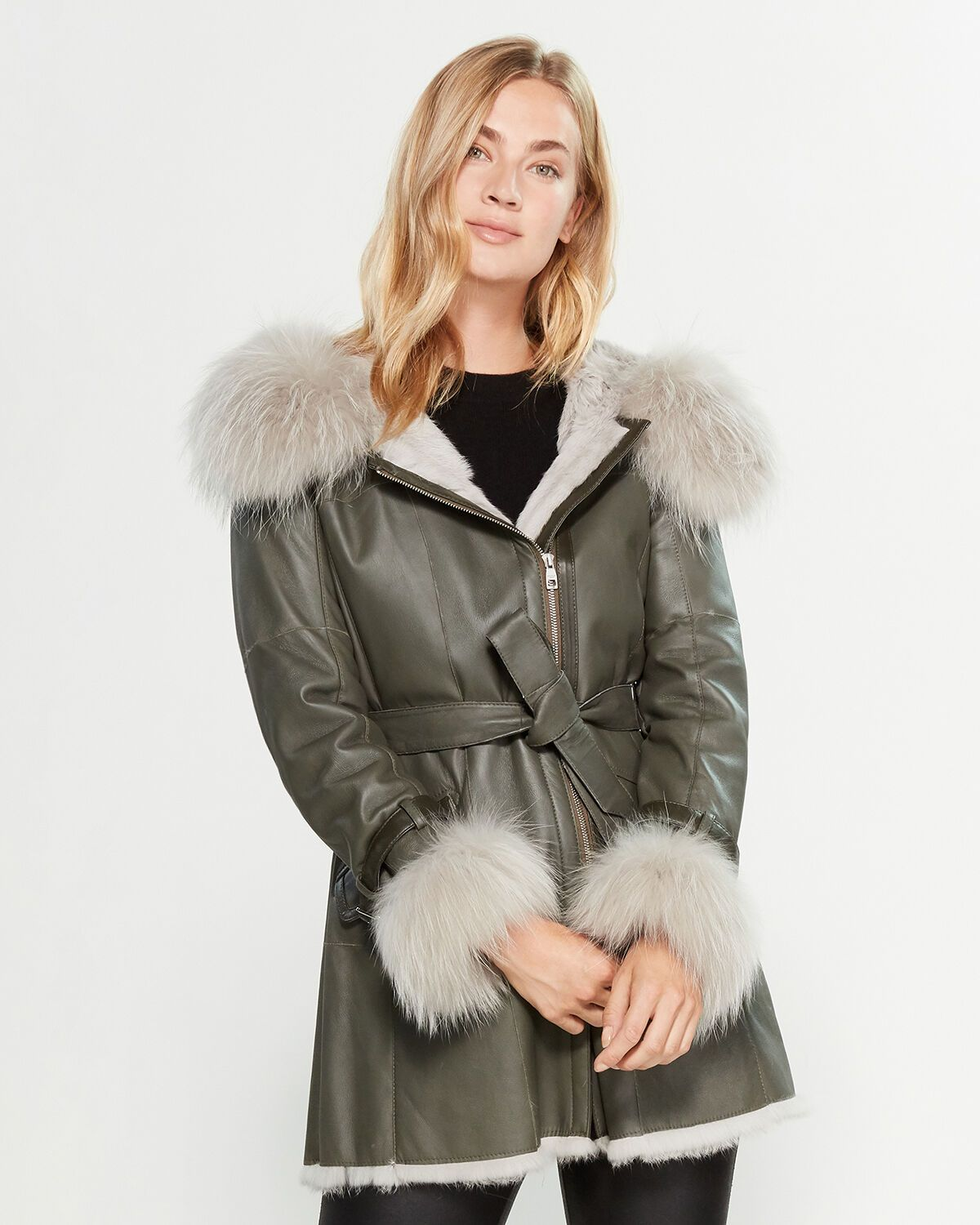 FullZip Real FurTrimmed Long Leather Coat Long leather