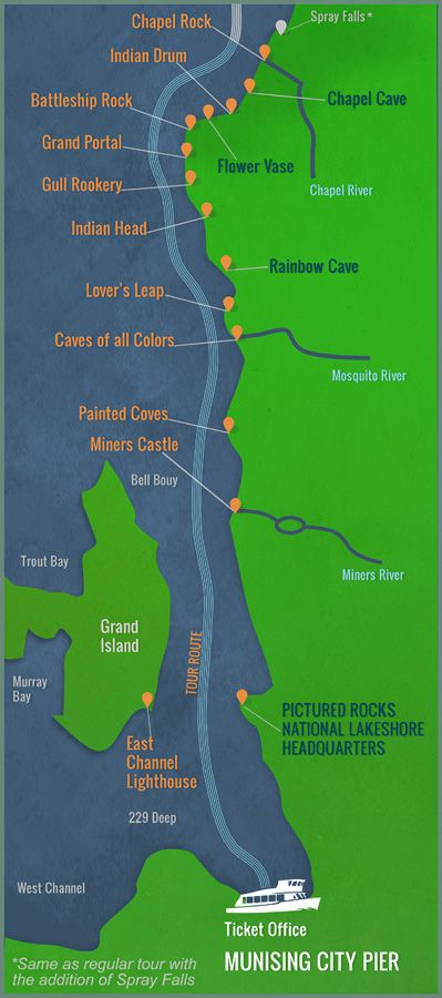 Picture Rocks Michigan Map.Pictured Rock Boat Tour Map Google Search Scenic And Beautiful