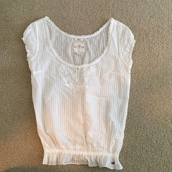 Hollister Fashion Top Cute sheer white top Hollister Tops Tees - Short Sleeve