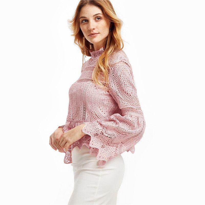 da4c4e81 SheIn Sexy Long Sleeve Tops for Women Long Sleeve Shirts Women Fashion Pink  Lace Flare Sleeve Peplum Zipper Back Blouse