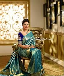 20f73621dc Image result for peacock blue pattu sarees | Green | Kanjivaram ...