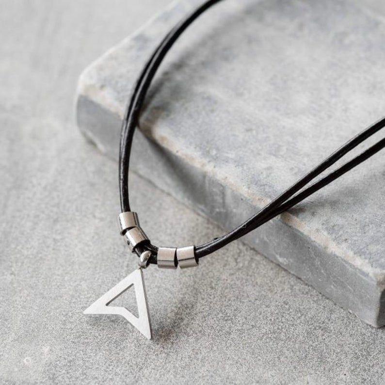 Men's Necklace – Men's Leather Necklace – Men's Stainless Steel Necklace – Men's Jewelry – Men's Gif
