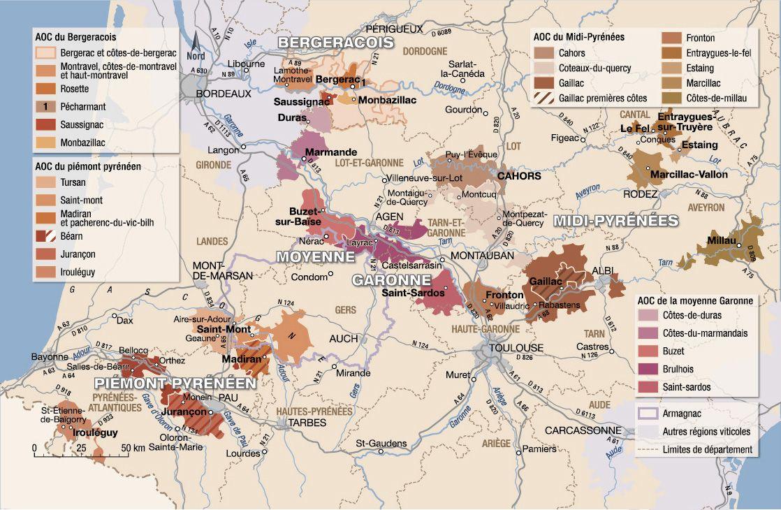 sud ouest carte touristique