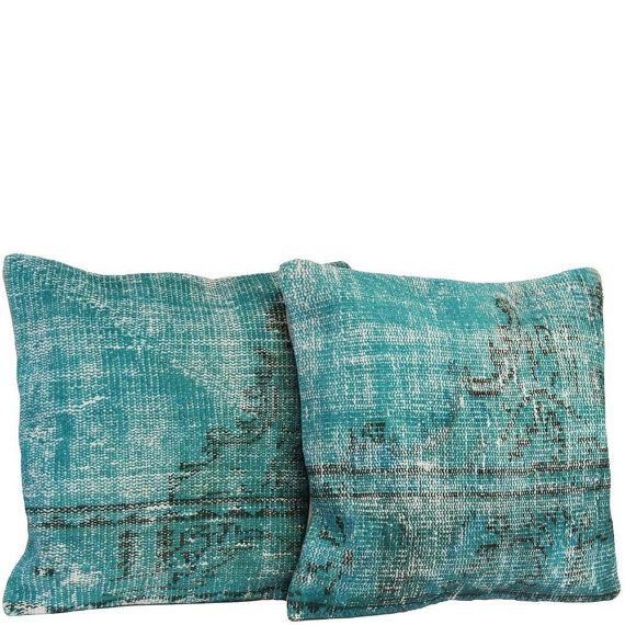 Pair Of Turquoise Handmade Over Dyed Rug Pillow 16 X16 Matching