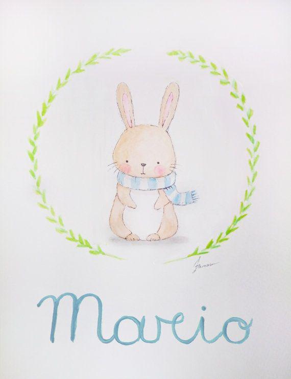 Acuarelas Originales Personalizadas Para Bebes Y Ninos Watercolor