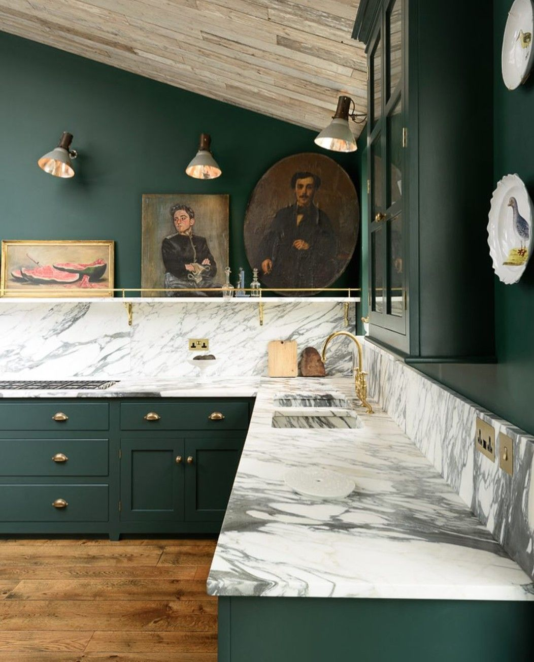 Green and marble kitchen pinterest marbles kitchens and house