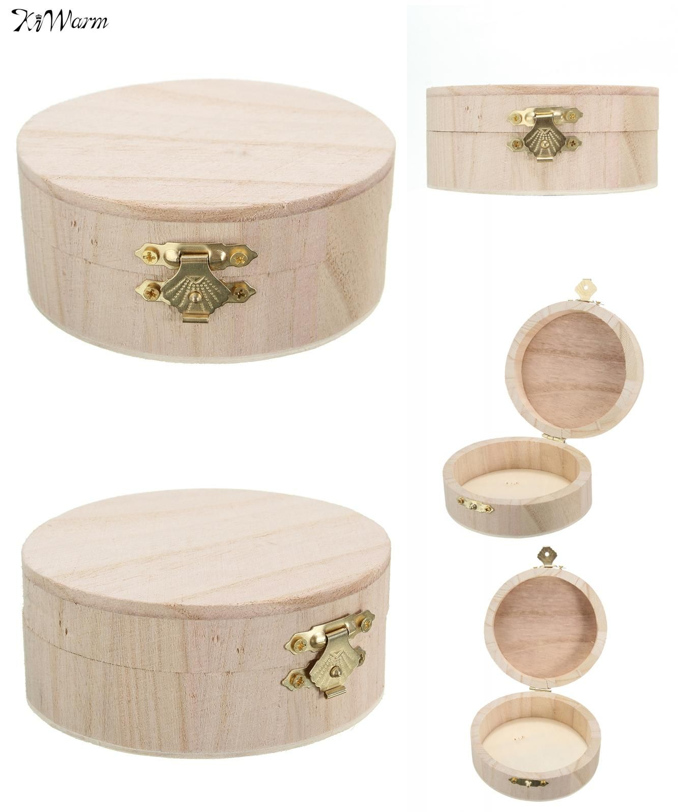 Visit to Buy Kiwarm Portable Storage Boxes Round Wooden Box