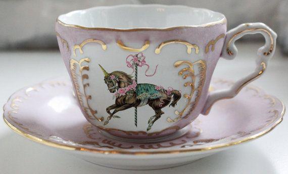 Pink Or Green Unicorn Teacup Saucer Set Customizable Blue