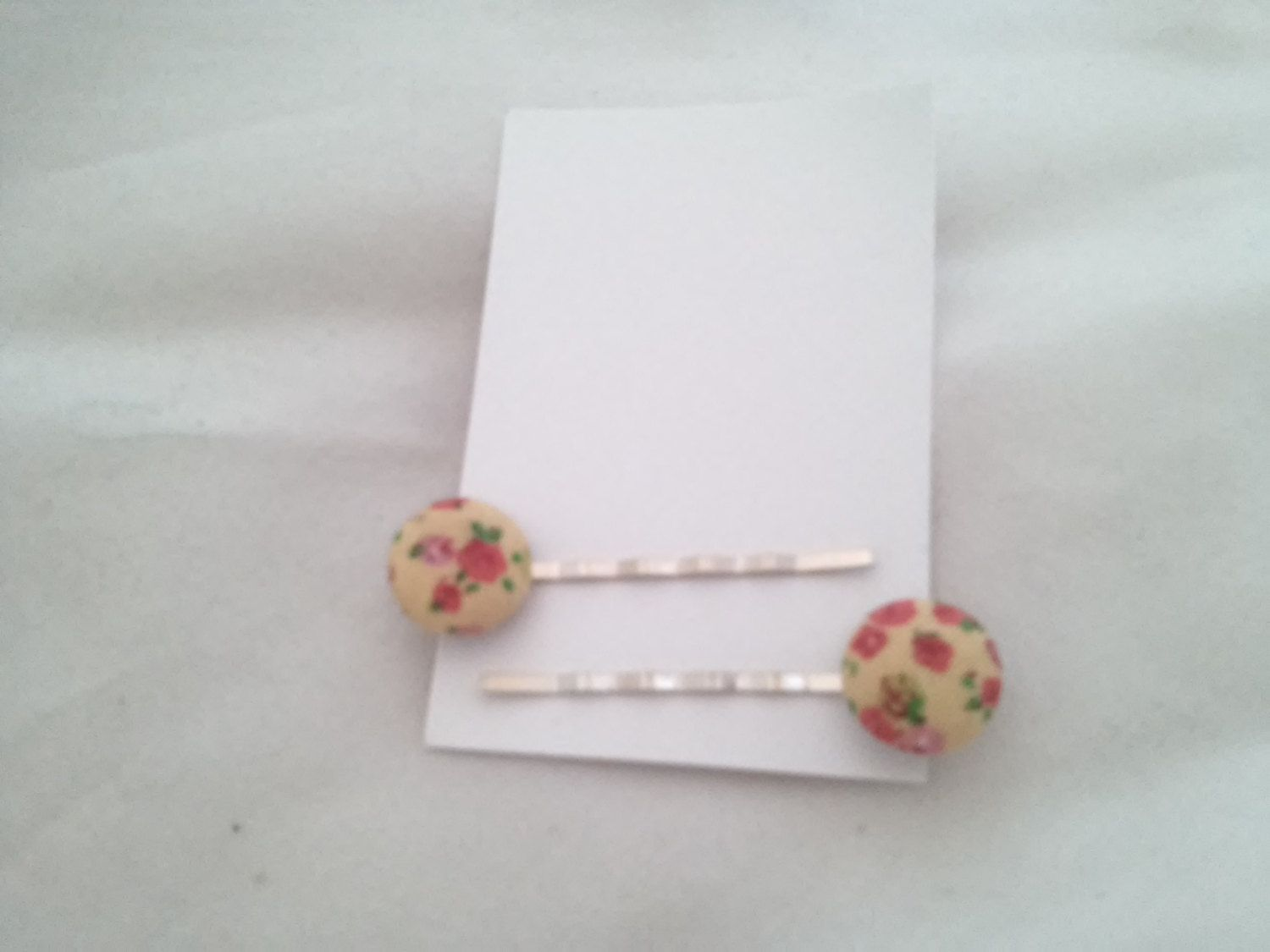 Yellow fabric button bobby pins, set of two, hair accessories, dainty, spring, floral by unionmeg on Etsy