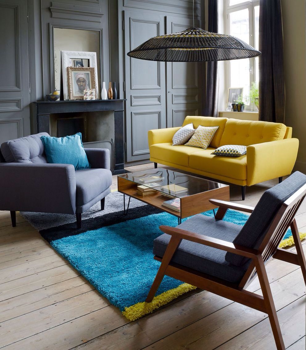 39 Living Room Ideas With Light Brown Sofas Green Blue: La Redoute Décoration Salon Jaune Et Bleu #living Yellow