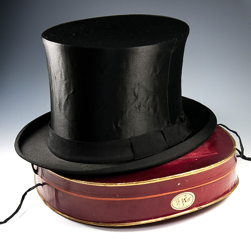Antique Victorian Edwardian Era Silk Top Hat French Made Collapsible With Original Travel Box Silver Monogram From Antiques U Top Hat Hats Edwardian Era