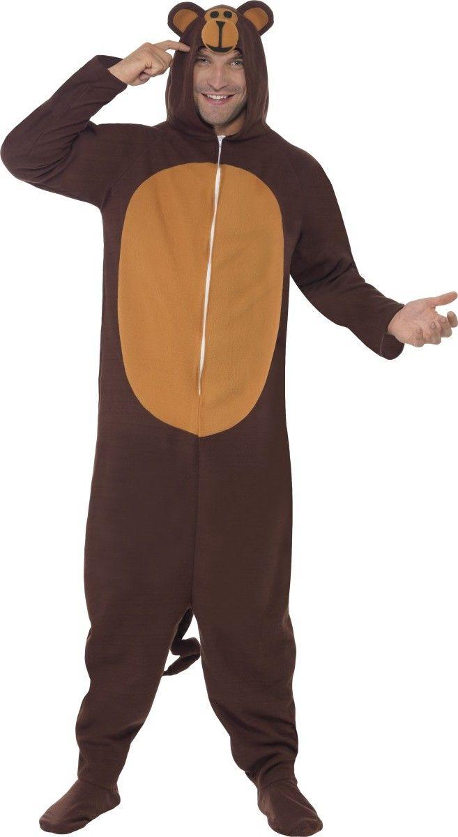 Disfraz de mono adulto: Este disfraz de mono para adulto consta de un mono de efecto polar. Es de color marrón oscuro y caramelo en el vientre. La capucha representa la cabeza del mono.Lleva una larga cola y cubre la...