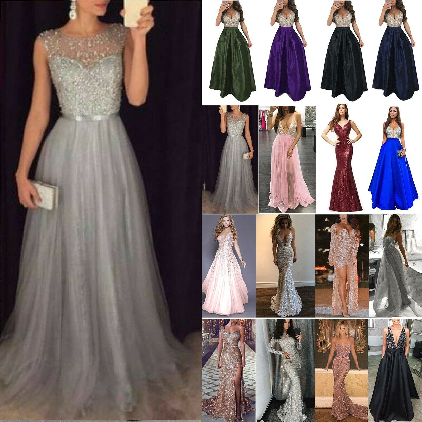 Women Formal Wedding Bridesmaid Evening Party Ball Prom Gown Long