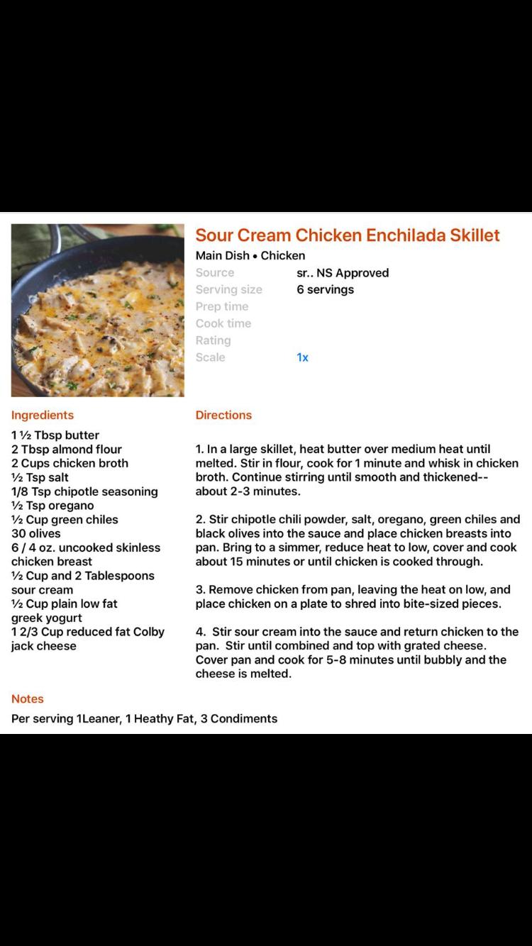 Sour Cream Chicken Enchilada Skillet Lean And Green Meals Medifast Recipes Sour Cream Enchiladas