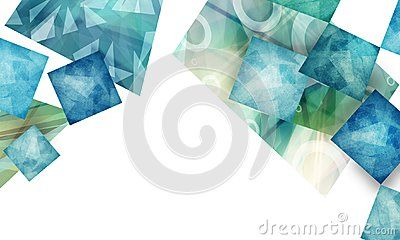 Artsy Classy Abstract Blue And Green Polygon Shapes On White