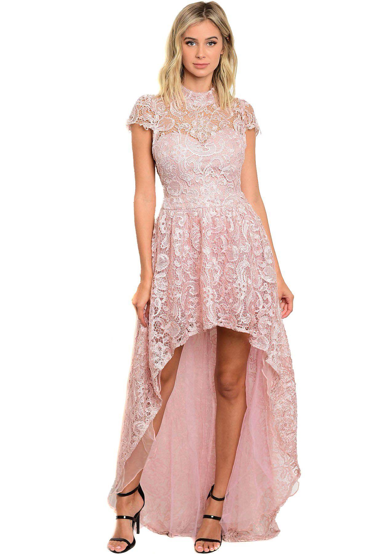 Pink Short Sleeve Hi Lo Full Lace Open Back Elegant Dress w/ Mock ...