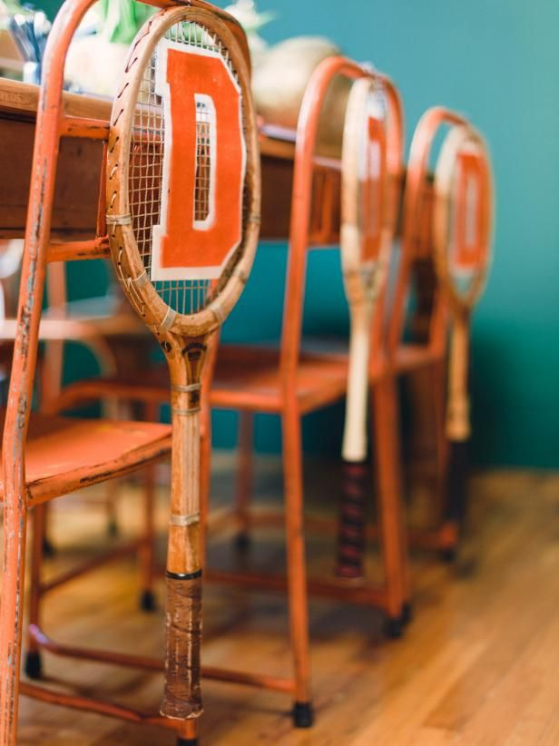 How to use vintage tennis rackets as varsity themed chair swags for diy network shows you how to add a preppy athletic touch to the seating at a collegiate style party with repurposed wooden tennis rackets and solutioingenieria Image collections