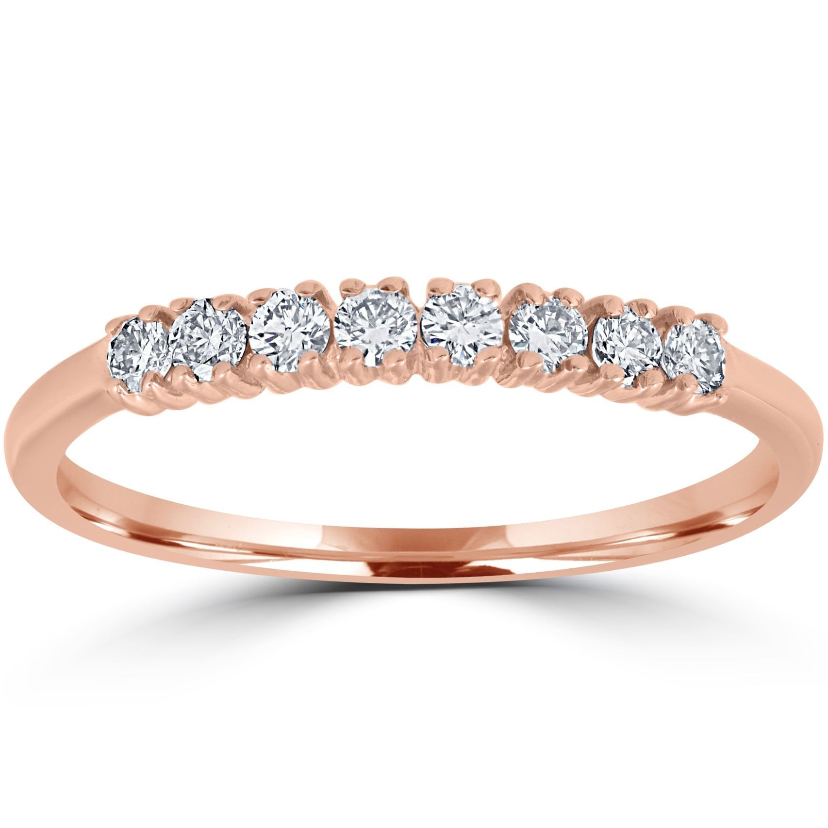 Bliss 14K Rose Gold 15 ct TDW Diamond Ring Womens Stackable Wedding