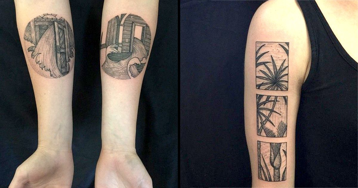 32e837a82 Tattoos in circular, rectangular and square frames done Blackwork style by  Richard Warnock