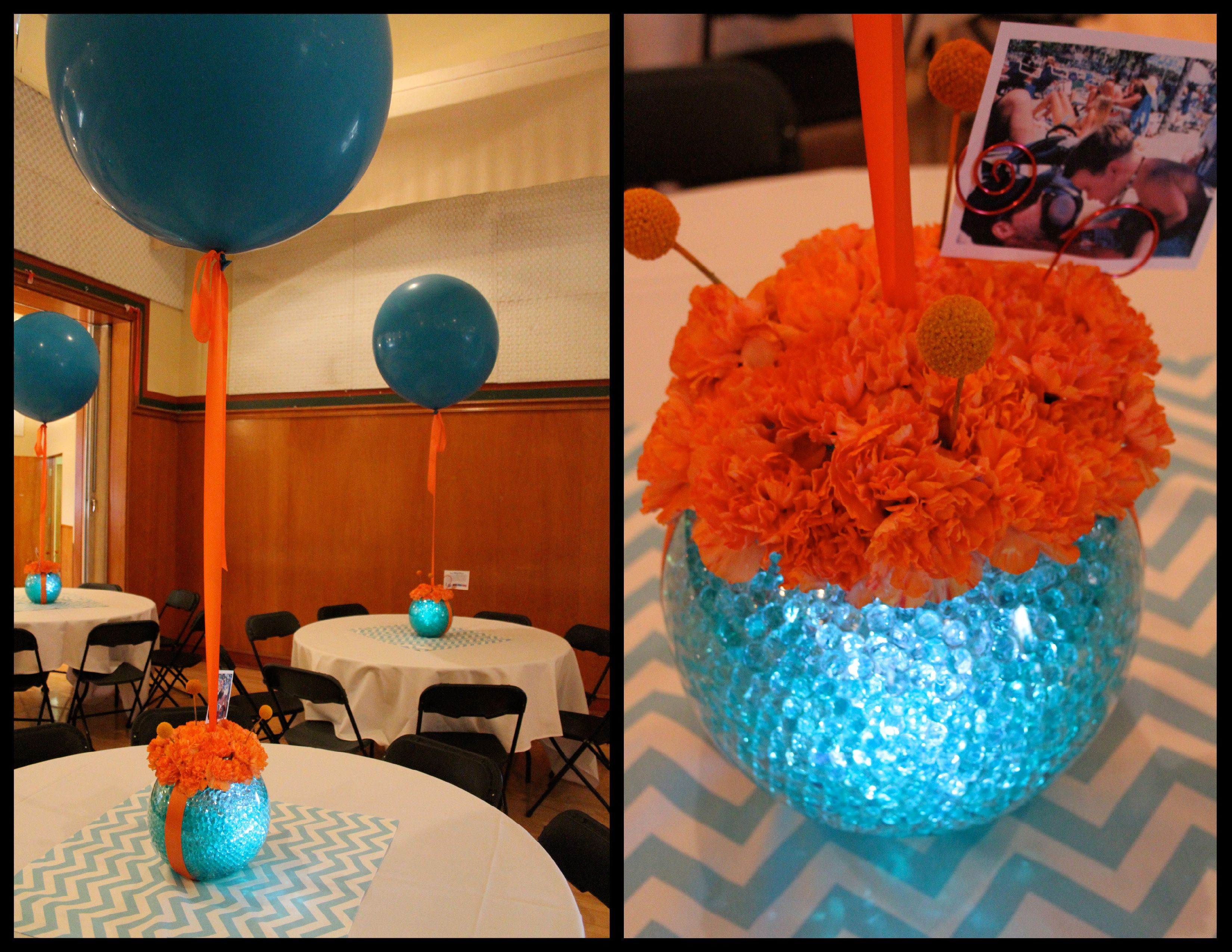 Centro de mesa con perlas agua flores globo gigante