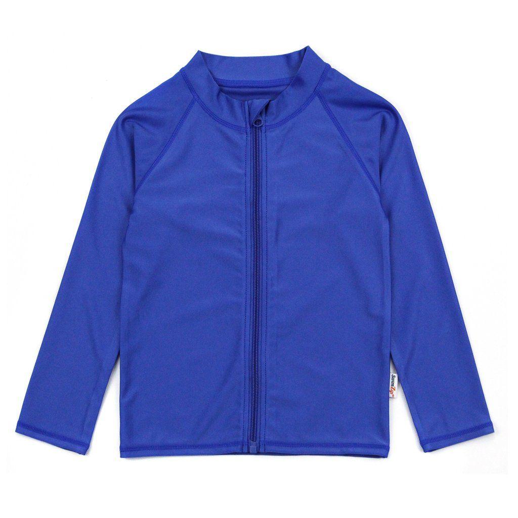 SwimZip Zipper Long Sleeve Rash Guard Swimsuit Set Zoo Animal Blue