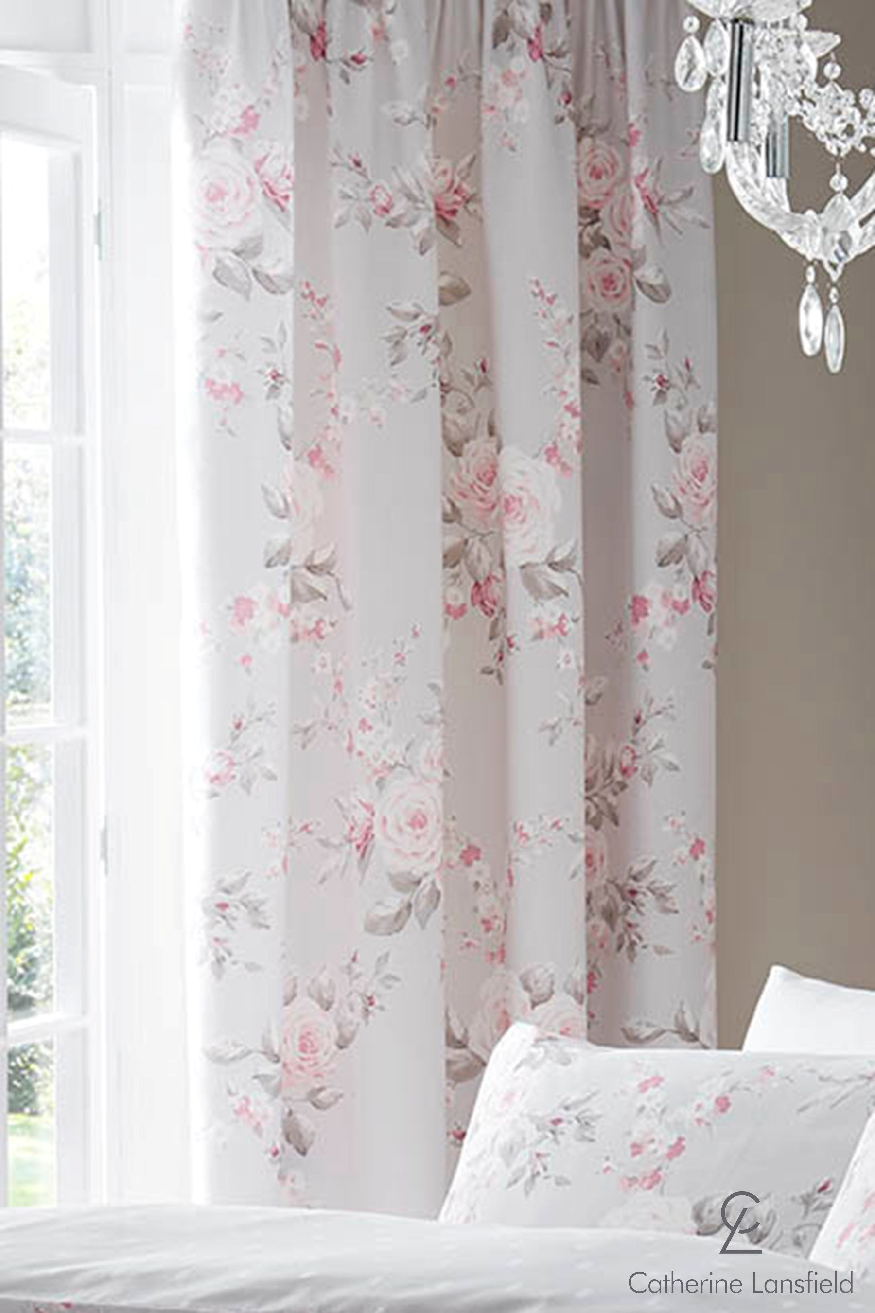 Catherine Lansfield Canterbury Eyelet Curtains Pink