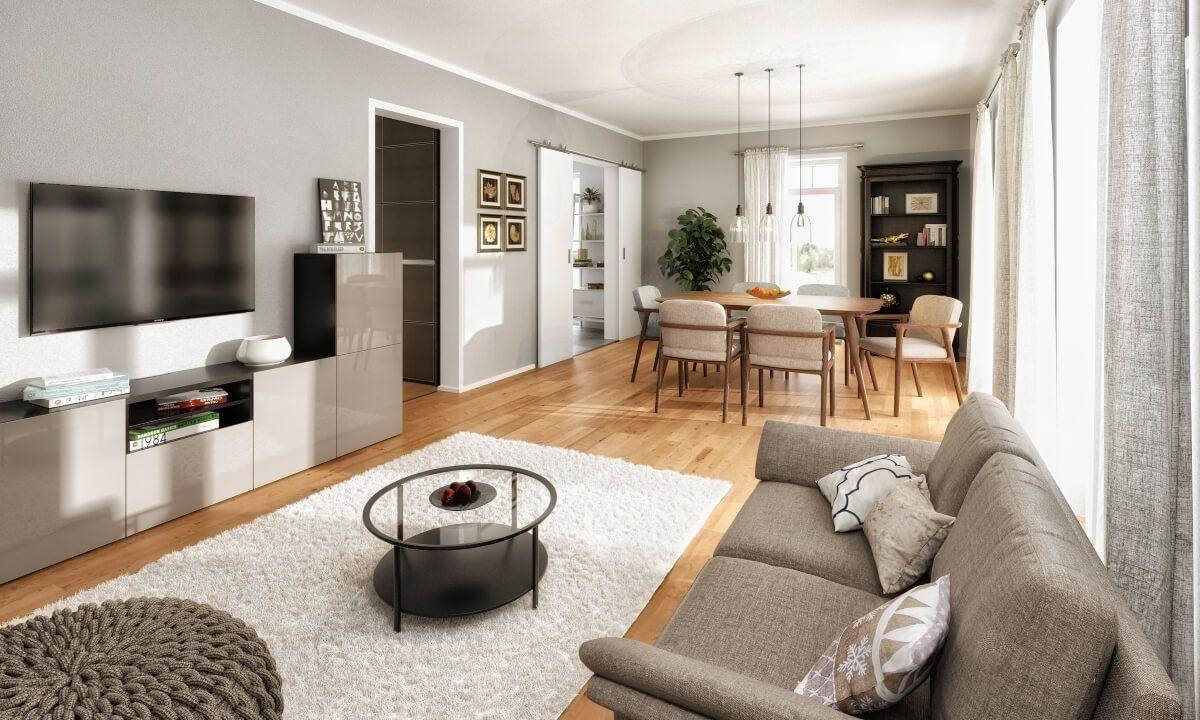 Modernes Wohnzimmer Farben grau weiß Holz - Ideen Inneneinrichtung