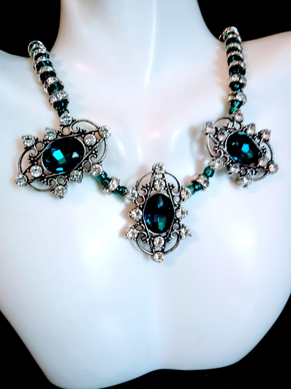 Teal and Rhinestone Filigree 3 Piece Jewelry Set Wedding