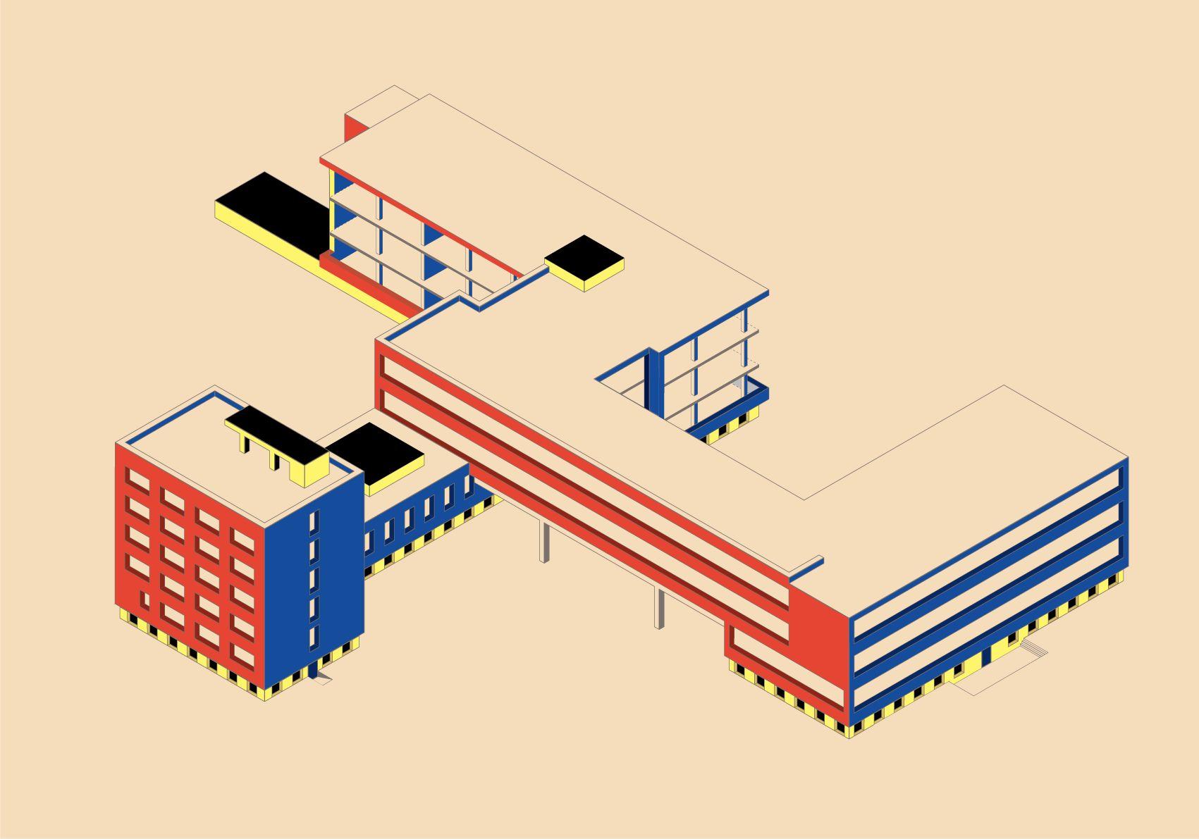 Architectural Axonometric Bauhaus Architecture Bauhaus Design