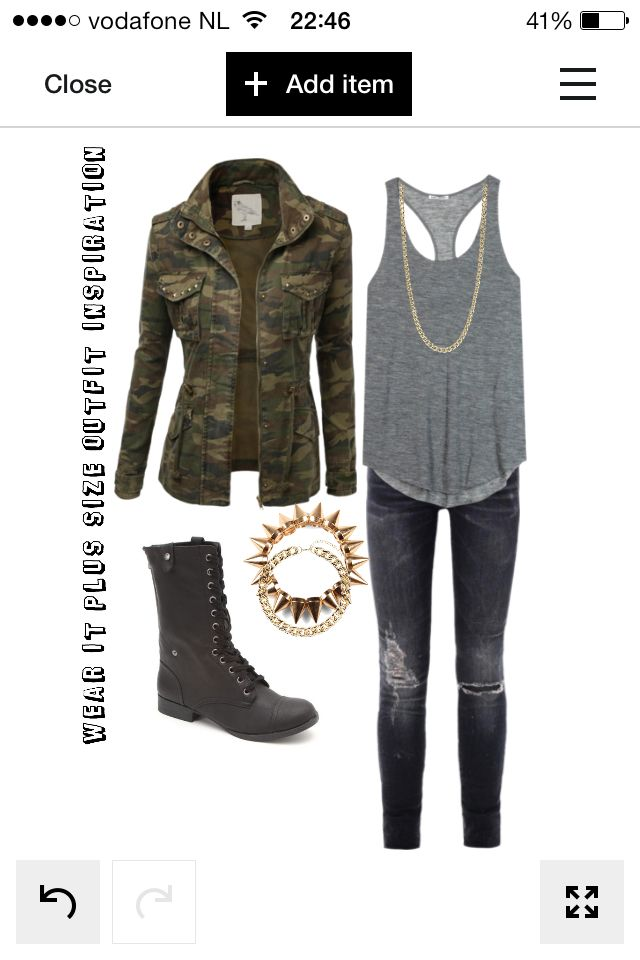 Wear it plus size outfit inspiration  Military look! Military green blazer, grey top, black (destroyed) skinny jeans Wear it with gold armcandy and necklace