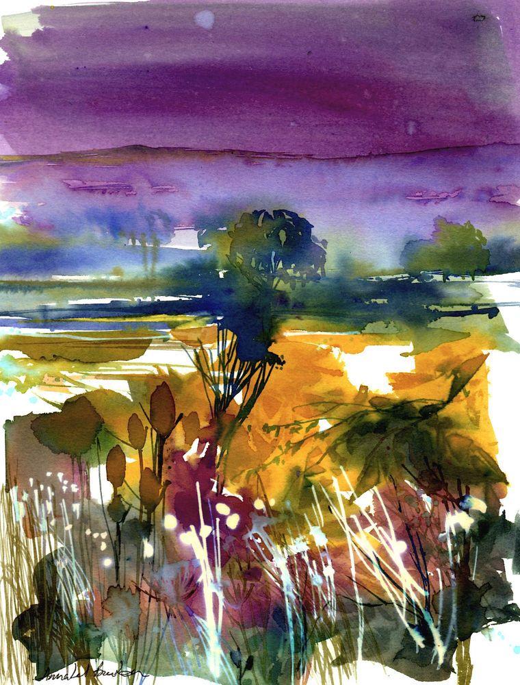 Original Watercolour Landscape Painting Misty Valley By Annabel Burton Watercolor Landscape Landscape Paintings Watercolor Landscape Paintings