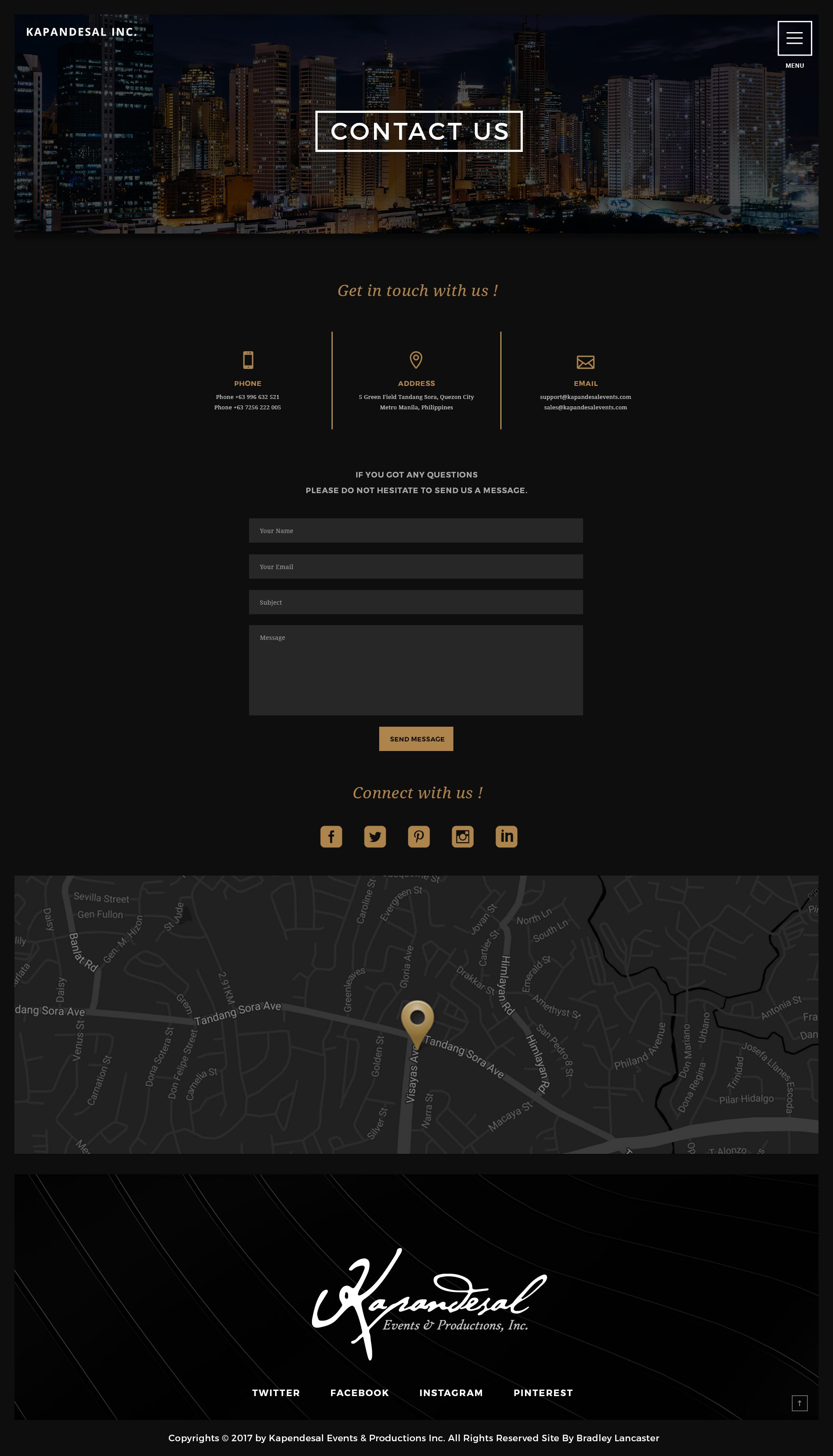 contact us page dark theme style website design designed by