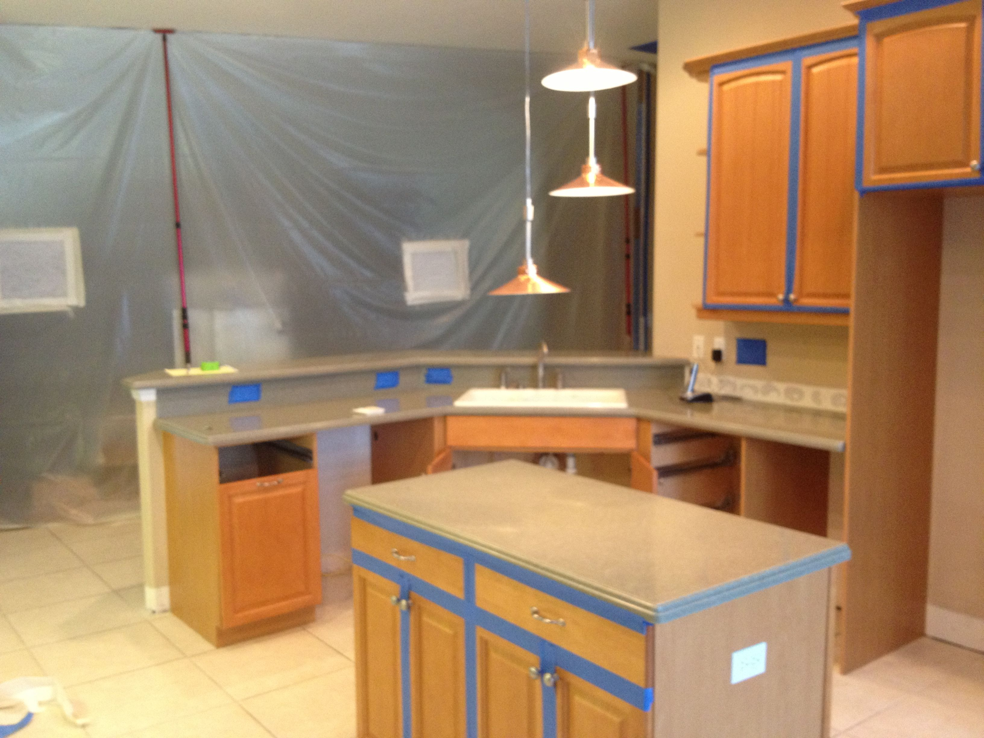 Kitchen Sealed Off From Rest Of Home Ready Of Post Remediation Air Test Home Home Decor Corner Desk