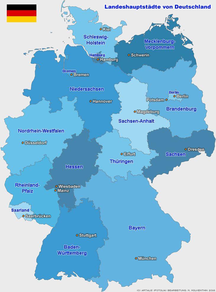Landeshauptstadte Der Bundeslander Deutschlands Resor Sprak Karta