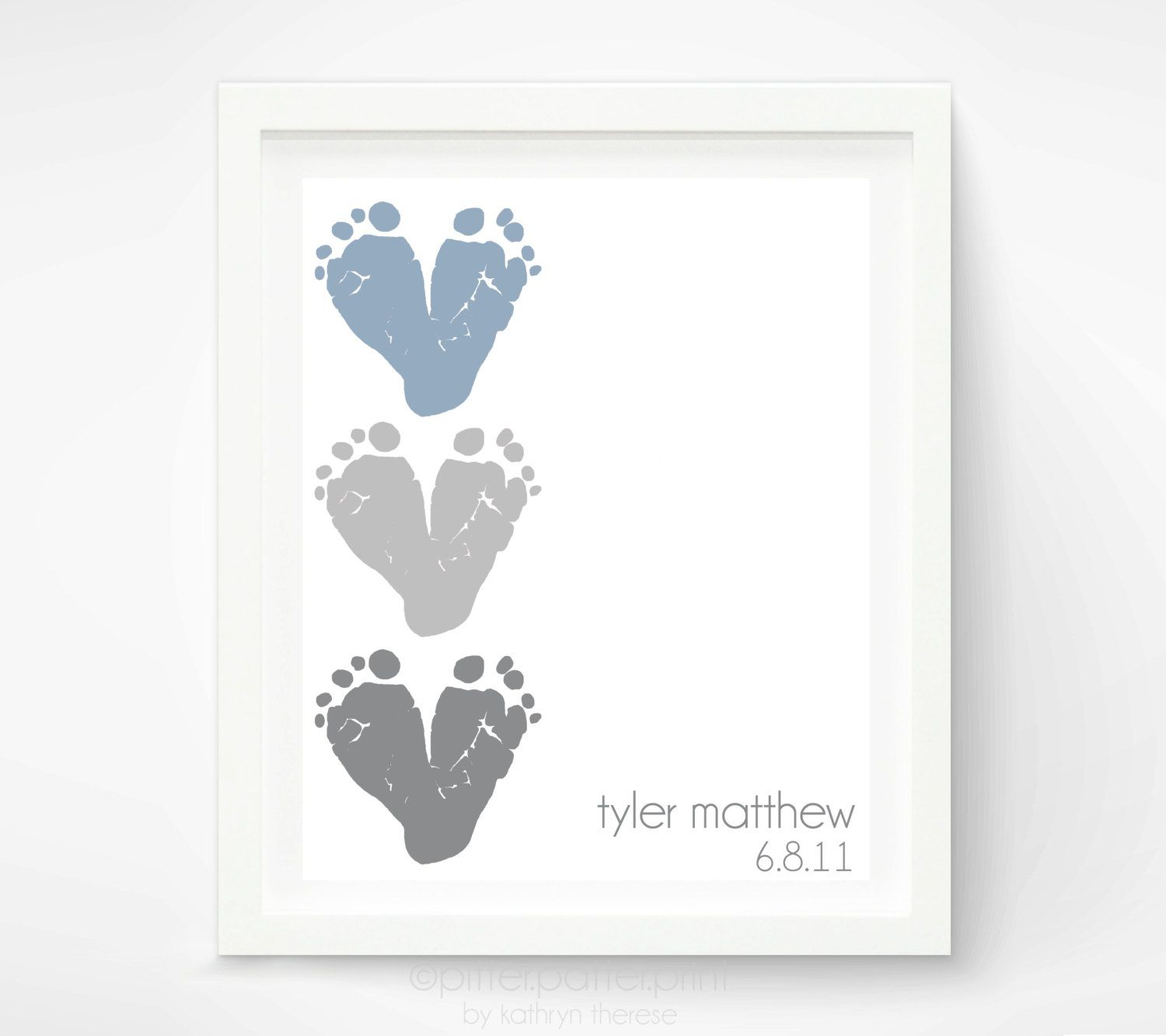 Elephant nursery wall art print mom baby dad by rizzleandrugee - Baby Footprint Art Personalized Baby Name Art Gray Heart Red Heart Nursery Decor