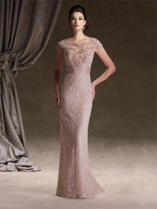 Short Sleeveless Sheath/Column Lace Floor-Length Mother of the Bride Dress