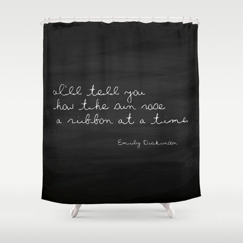 Shower Curtain - Emily Dickinson Quote - Nature Decor - Beach Cottage Decor - Cottage Chic - Beach House Shower Curtain - Sunrise Quote