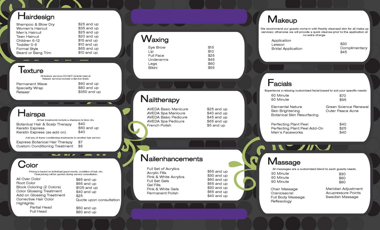 Salon Service Menu Template  Places To Visit    Menu
