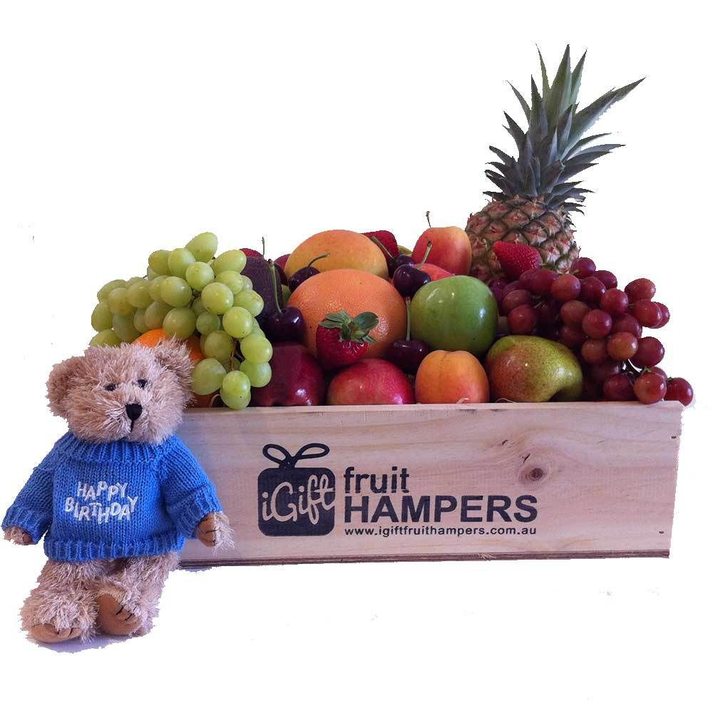 Happy birthday gift hamper with blue message bear fruit